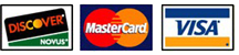 Discover, Mastercard and Visa accepted